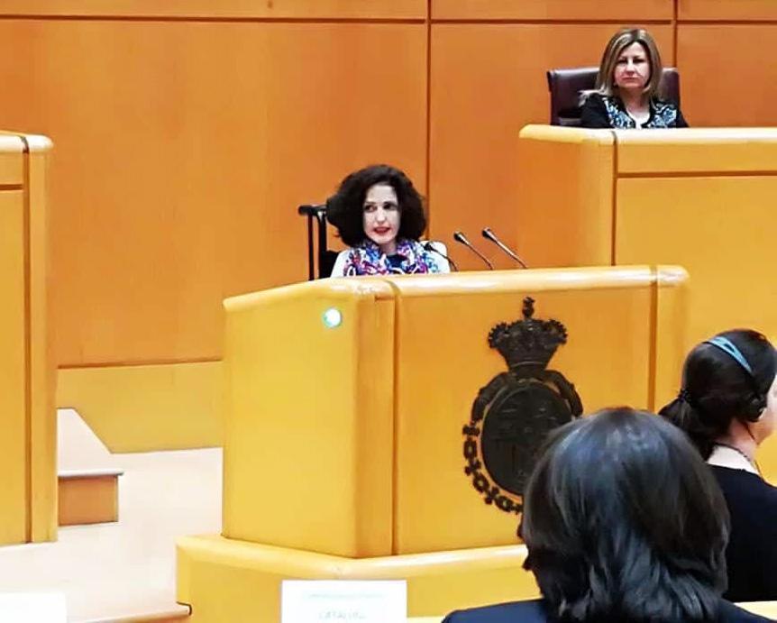 Virginia Felipe en el atril adaptado del Senado