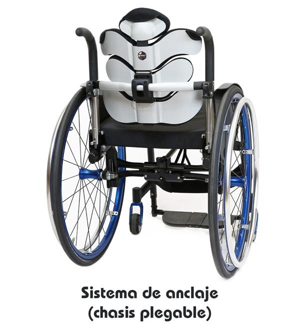 Respaldo postural Tarta Emys - Sistema de enganche y desenganche (chasis plegable)