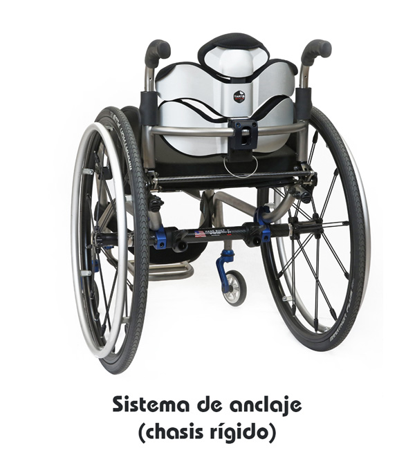 Respaldo postural Tarta Emys - Sistema de enganche y desenganche (chasis rígido)